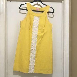 Lilly Pulitzer yellow & white shift dress size 12
